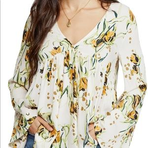 NWT Free People Floral Print Tunic Top